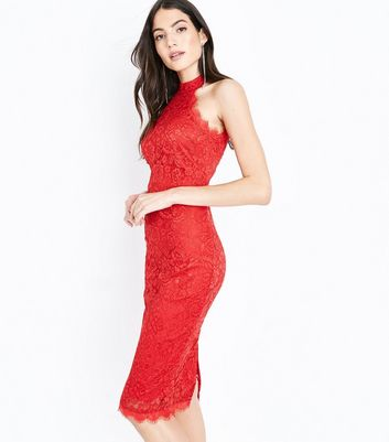 AX Paris Red Lace High Neck Dress New Look