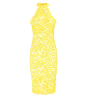AX Paris Yellow Lace High Neck Dress New Look