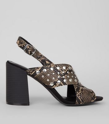 Black Snakeskin Textured Cross Stud Strap Block Heels New Look