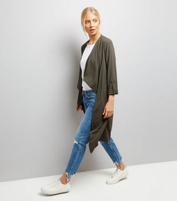 Khaki Ruched Back Duster Coat New Look