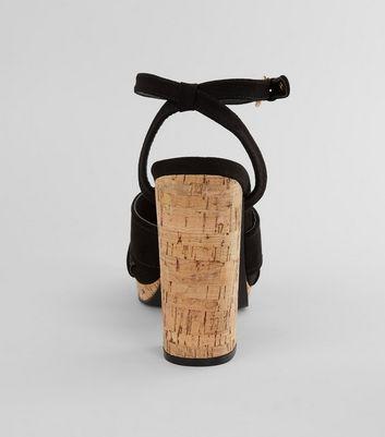 Black Suedette Cross Strap Cork Block Heels New Look