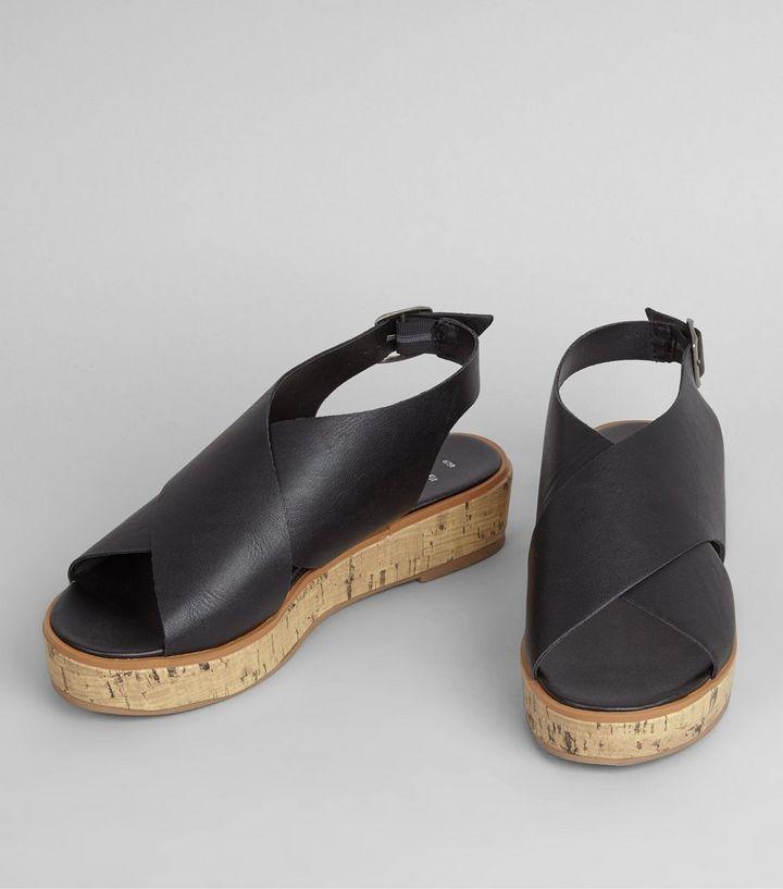 ddaae311849 Wide Fit Black Wide Cross Strap Flatforms