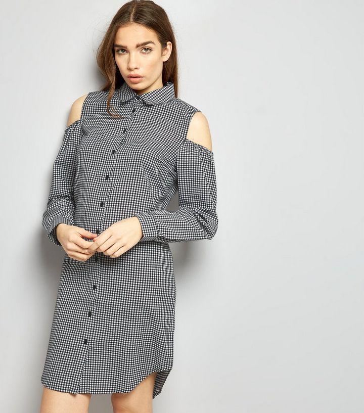13d94e635be69 Black Gingham Cold Shoulder Shirt Dress