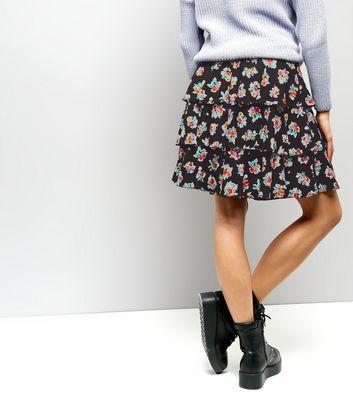 Motel Black Floral Print Layered Skirt New Look