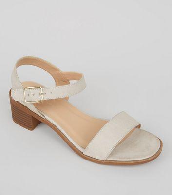 Wide Fit Grey Low Block Heel Sandals