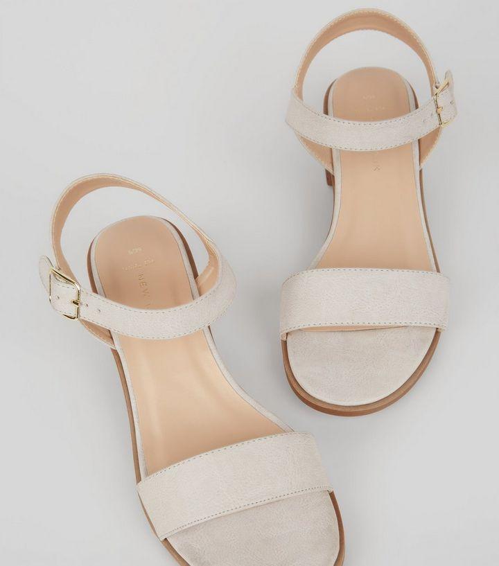 0b2d8588380 Wide Fit Grey Low Block Heel Sandals