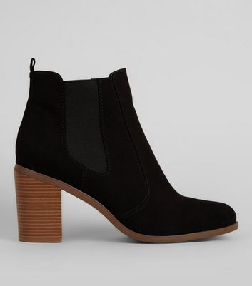 Black Suedette Block Heel Boots New Look