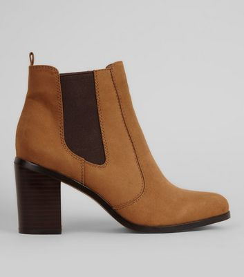 Tan Suedette Contrast Side Block Heel Boots New Look