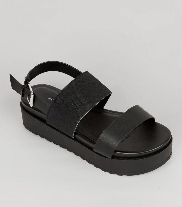 93275fcf7f5c Wide Fit Black Flatform Sandals