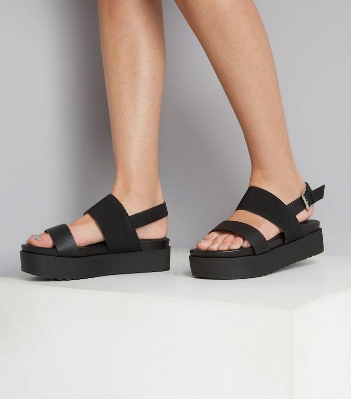 50e4e485752 Wide Fit Black Flatform Sandals