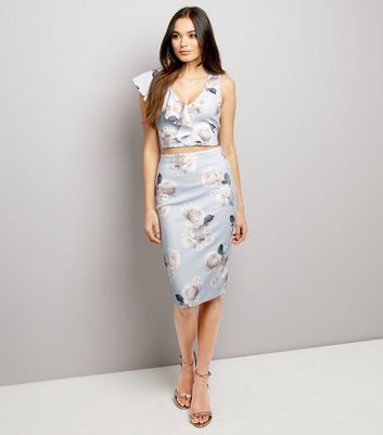 Blue Floral Print Frill Trim Crop Top New Look