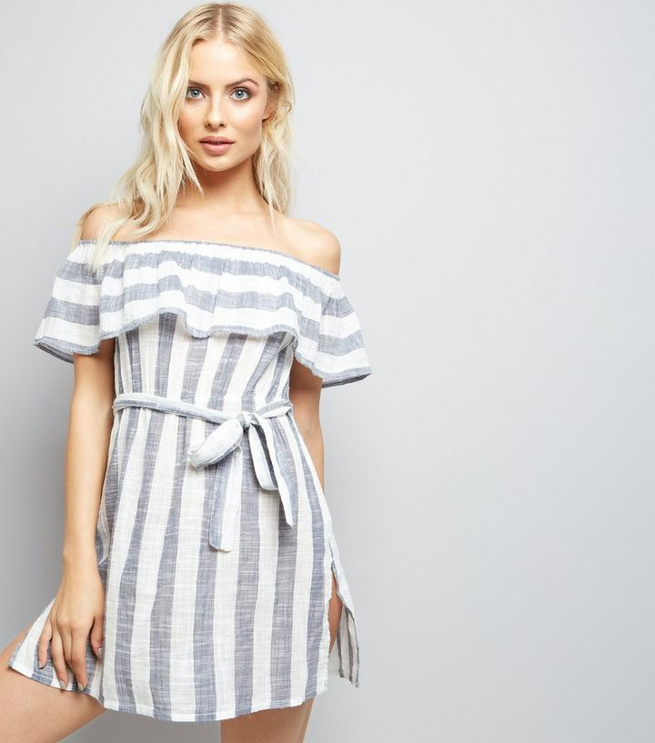 7c018ce93cd Blue Stripe Bardot Neck Beach Dress