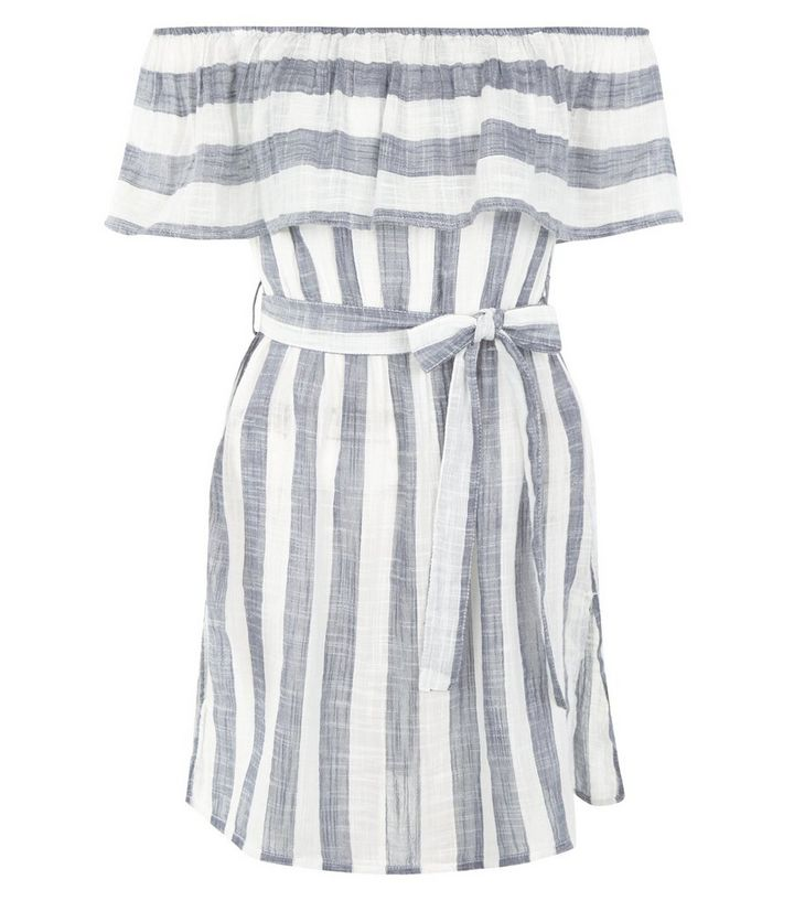 63d9a9a6ca2 ... Blue Stripe Bardot Neck Beach Dress. ×. ×. ×. Shop the look