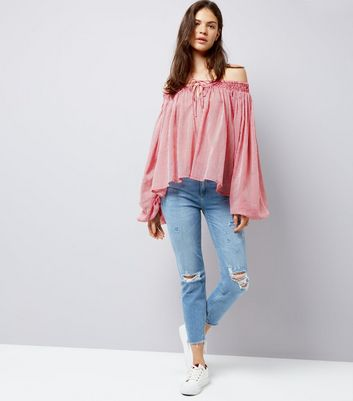 Red Stripe Shirred Bardot Neck Long Sleeve Blouse New Look