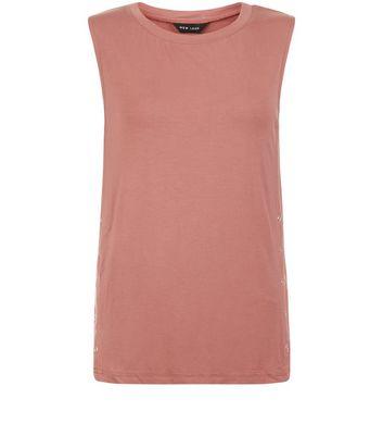 Deep Pink Popper Side Trim Vest New Look