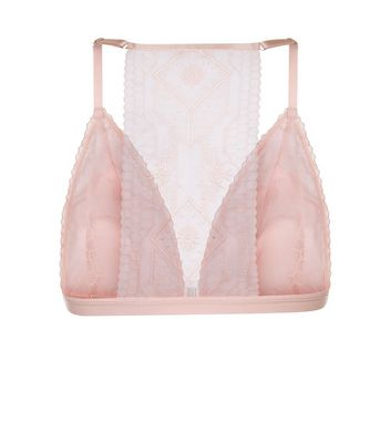 Shell Pink Aztec Embroidered Bralet New Look