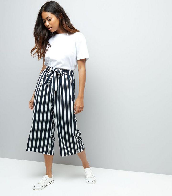 6ecb5b71d4 Petite Navy Stripe Tie Waist Wide Leg Cropped Trousers   New Look