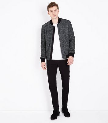 Black Wool Mix Bomber Jacket New Look