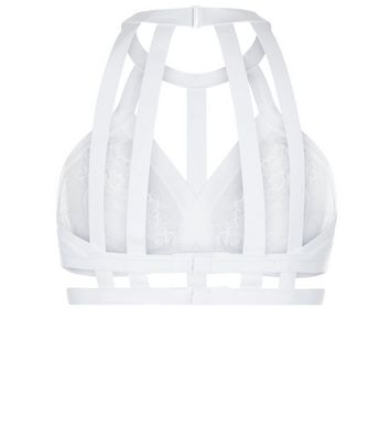 White Bridal Lace Strappy Bralet New Look