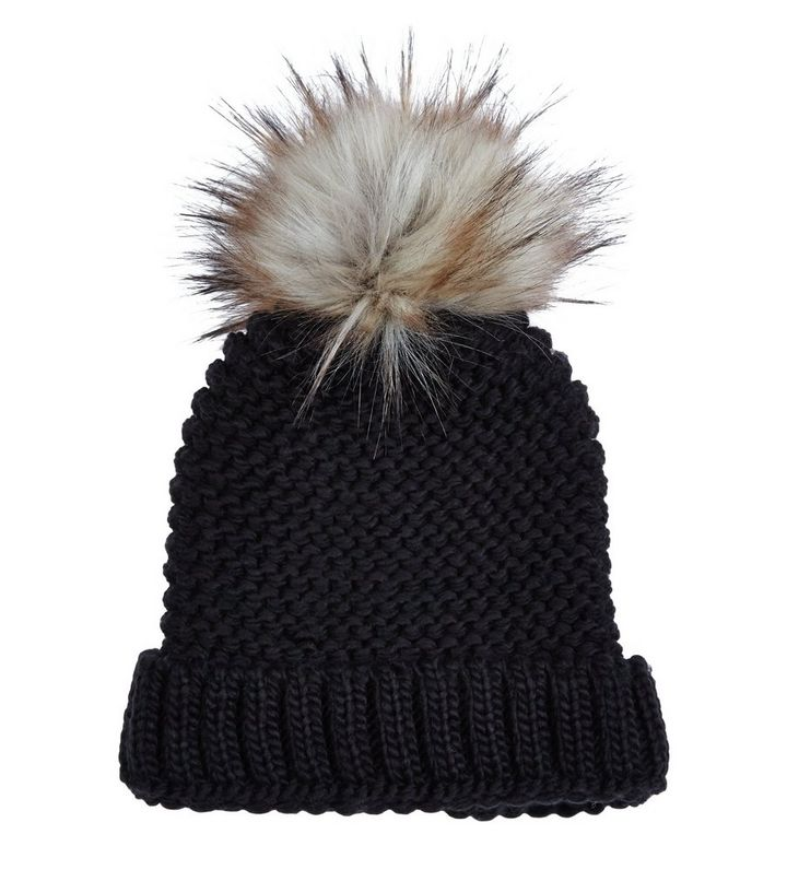 bacc2a6a9 Black Chunky Knit Faux Fur Pom Pom Hat Add to Saved Items Remove from Saved  Items