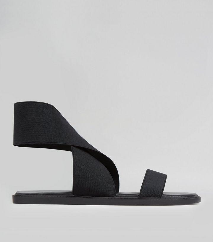 cc9acc0b5e3 Wide Fit Black Elasticated Strap Sandals