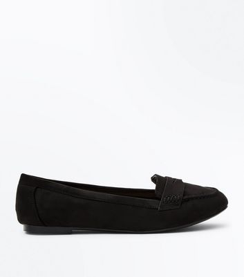 Wide Fit Black Suedette Penny Loafers
