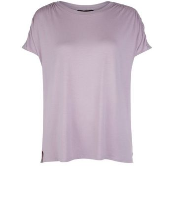 Lilac Ruched Sleeve T-Shirt New Look