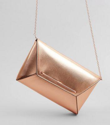 Rose Gold Metallic Envelope Clutch Bag New Look
