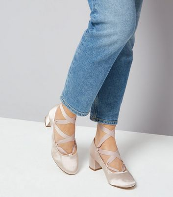 Nude Pink Satin Ankle Tie Block Heels New Look