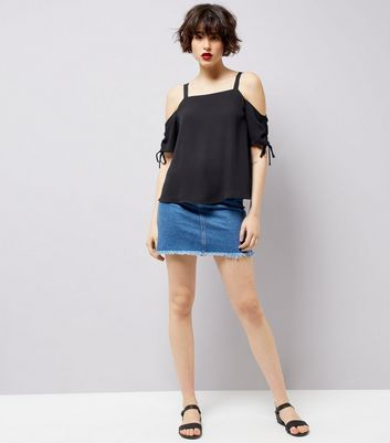 Black Ruched Sleeve Top New Look