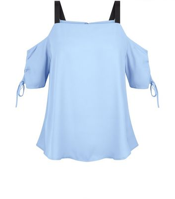 Blue Ruched Sleeve Top New Look
