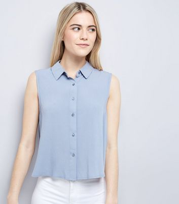 Blue Cropped Sleeveless Shirt New Look