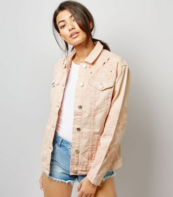 Shell Pink Cut Out Embroidered Denim Jacket New Look