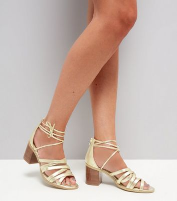 Gold Leather Cross Strap Heeled Sandals New Look