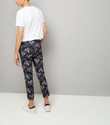 Navy Palm Print Tailored Slim Leg Trousers New Look