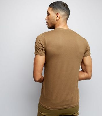 Khaki Ripped Short Sleeve T-Shirt New Look
