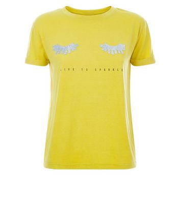 Cameo Rose Yellow Metallic Live To Sparkle T-Shirt New Look
