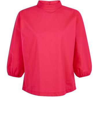 Pink Funnel Neck Balloon Sleeve Top New Look