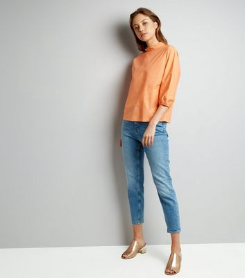 Orange Funnel Neck Balloon Sleeve Top New Look