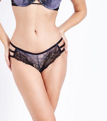 Black Floral Lace Ombre Brazilian Briefs New Look
