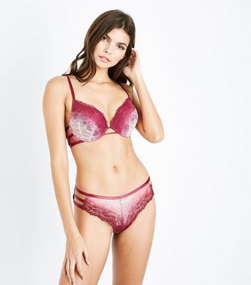 Red Ombre Lace Brazilian Briefs New Look