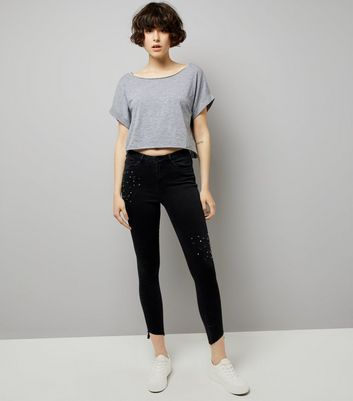 Black Studded Skinny Jenna Jeans New Look