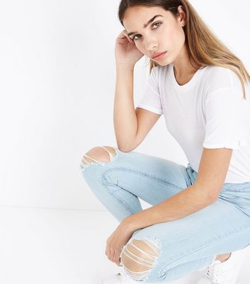 Blue Bleached Ripped Knee Skinny Jenna Jeans New Look