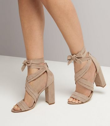 Nude Suedette Ankle Tie Block Heels New Look