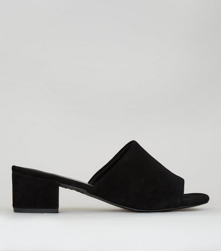 cdc62530a3 Black Suede Heeled Mules | New Look
