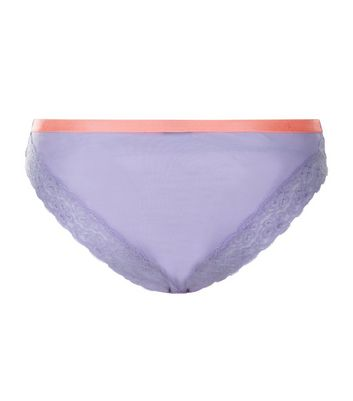 Lilac Lace Contrast Band Brazilian Briefs New Look