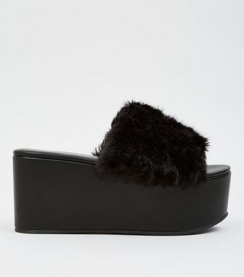 Black Faux Fur Flatform Mules New Look