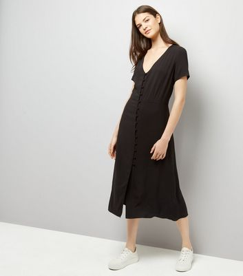 Black V Neck Button Front Midi Dress New Look
