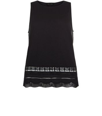 Black Cut Out Trim Sleeveless Top New Look