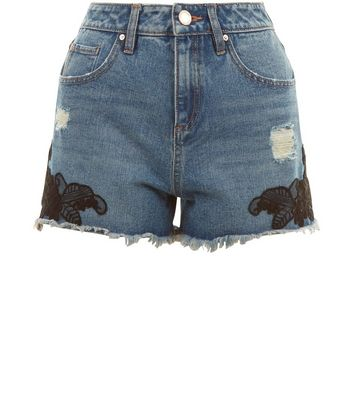 Teens Blue Ripped Lace Trim Denim Shorts New Look